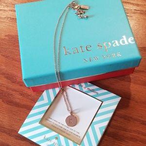 "Kate Spade ""K"" Initial Pendant Neclace, Rose Gold"